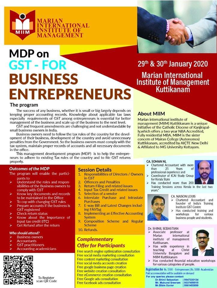 MDP on GST for entrepreneurs